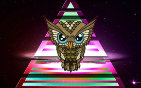 space, triangle, colorful, Illuminati, owl