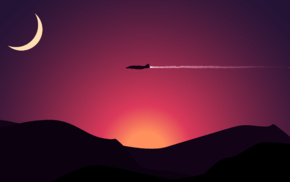 aircraft, sunset, minimalism, moon, digital art, mountain