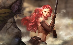 original characters, gun, redhead