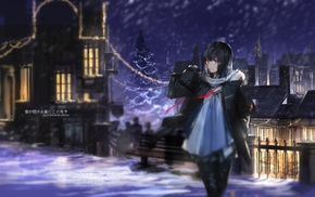 anime girls, swd3e2, snow, winter, original characters, Christmas