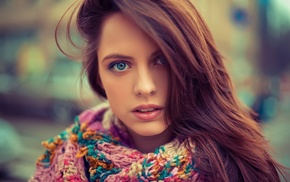 portrait, scarf, redhead, hair in face, looking at viewer, girl outdoors