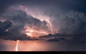 landscape, horizon, lightning, clouds, nature, storm
