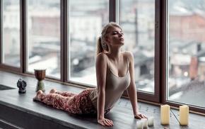 tank top, yoga, girl, Maxim Guselnikov, ponytail, big boobs