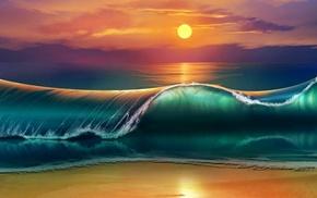 sunset, waves