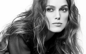 Keira Knightley, girl, monochrome