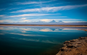 sunset, landscape, mountain, nature, Atacama Desert, reflection