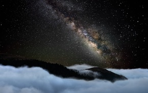 starry night, long exposure, galaxy, Milky Way, mountain, mist