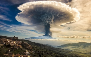 mountain, mushroom, clouds, smoke, Etna, snowy peak