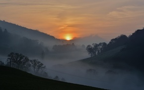 mountain, trees, England, landscape, mist, sunset