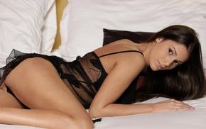 ass, brunette, Lia Taylor, panties, in bed, black lingerie
