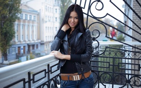 black hair, smiling, balconies, looking at viewer, girl, Macy B