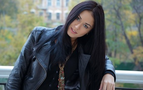 balconies, black hair, girl, smiling, Macy B, looking at viewer