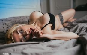 finger in mouth, in bed, black lingerie, Nask Nach, girl, closed eyes