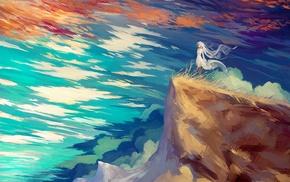 cliff, blue, classic art