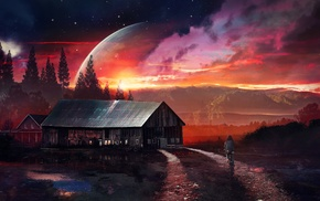 house, science fiction, night, red, planet