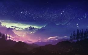 blue, mountain, night
