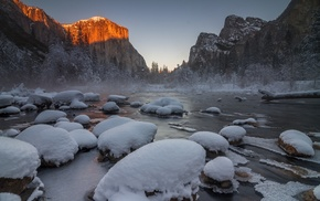 snow, trees, landscape, Yosemite National Park, winter
