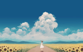 sky, original characters, sunflowers, anime, clouds, anime girls