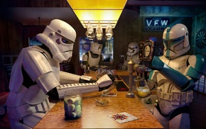 scout trooper, clone trooper, Star Wars, bar, stormtrooper
