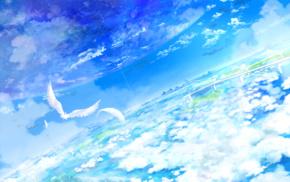 clouds, blue, sky, birds