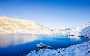 lake, winter