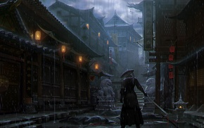 rain, Imperial City, artwork, samurai