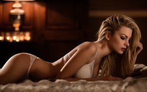 warm colors, cleavage, white bra, blonde, girl, white panties