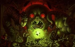 glowing, skull, brains, animals, worm, video games
