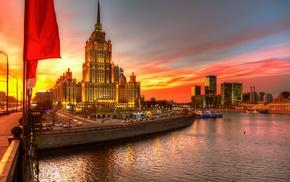 cityscape, Russia, river, skyscraper, boat, building