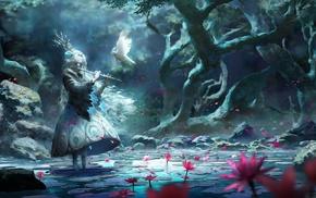 flute, forest, water lilies, birds
