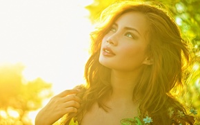 face, long hair, nature, trees, girl, model