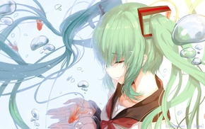 Hatsune Miku, bubbles, Vocaloid, fish, school uniform
