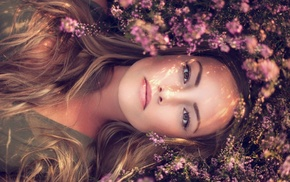 brown eyes, model, flowers, lying on back, girl, looking at viewer