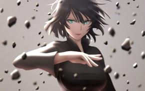 Fubuki, green eyes, anime, short hair, One, Punch Man