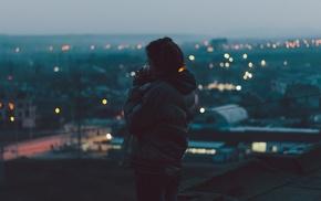 city, winter, girl