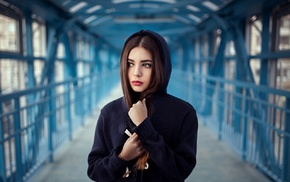 portrait, red lipstick, brunette, hoods, girl, depth of field