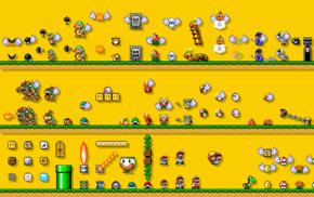 video games, Super Mario Bros., retro games, simple background, Nintendo Entertainment System, Mario Bros.