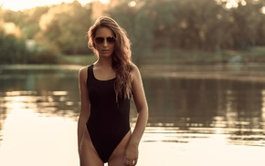 girl, Lisa Maria Leitgb, girl with glasses, river, one, piece swimsuit