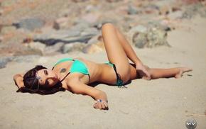 Miguel Vazquez, sand, model, Hanna Messick, bikini, girl