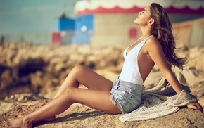 closed eyes, sitting, model, brunette, jean shorts, Yoram Attia