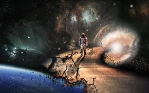 space art, Interstellar movie, space, Earth, road, wormholes