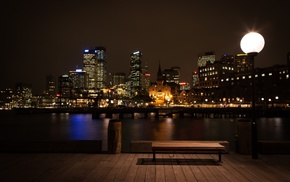 night, urban, cityscape, bench
