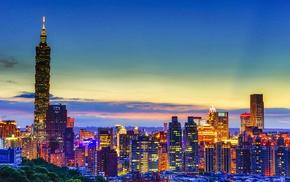 city, Taiwan, Taipei, skyscraper, sunrise, Taipei 101