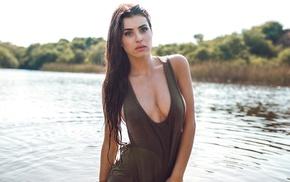 wet body, girl, wet clothing, brunette, portrait, model