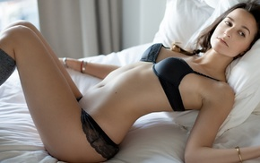 stockings, in bed, Marco Ibanez, arched back, girl, looking away