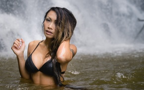 water, wet body, waterfall, tattoo, girl, river