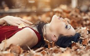 red dress, fall, black hair, girl, brunette, leaves