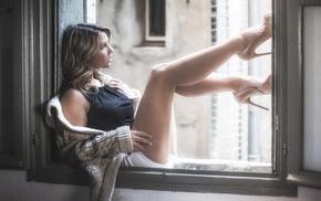 blonde, sweater, high heels, looking away, window, short shorts