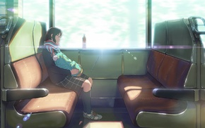 train, anime, anime girls, original characters, sitting, scarf