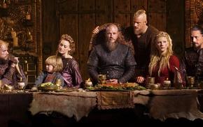 girl, men, braids, Floki, beards, Ragnar Lodbrok